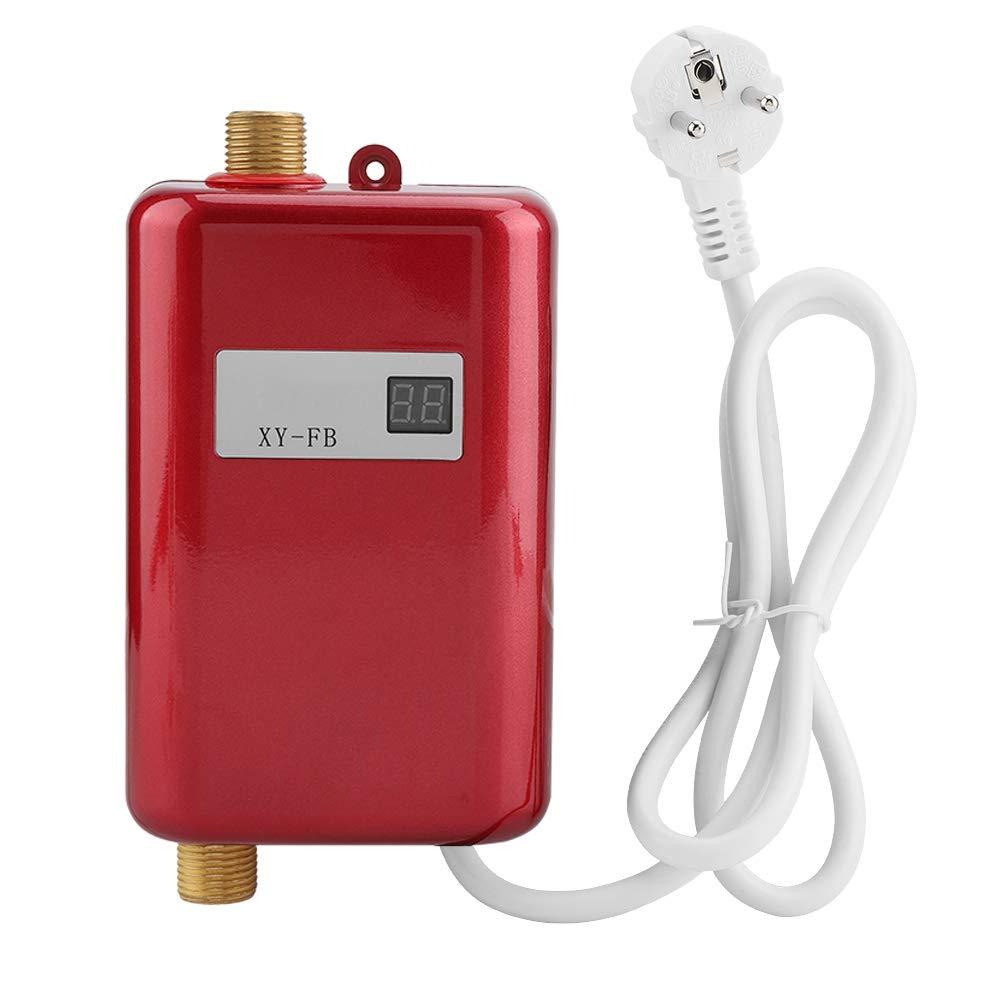 Wosume Calentador de Agua el/éctrico sin Tanque Oro 220V 3800W Mini Calentador de Agua Caliente instant/áneo sin Tanque Ba/ño Cocina Lavado UE
