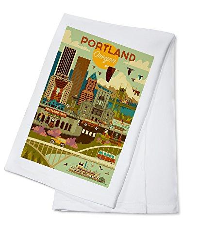 (Portland, Oregon - Geometric (100% Cotton Kitchen Towel))