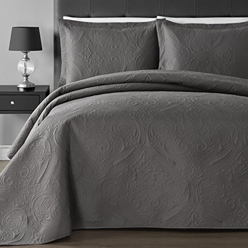 Comfy Bedding Extra Lightweight and Oversized Thermal Pressing Floral 3-piece Coverlet Set (Full/Queen, Grey)