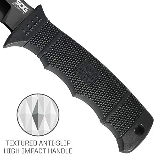 SOG Fixed Blade Knives with Sheath - SEAL Pup Elite Survival Knife, Hunting Knife w/ 4.85 Inch AUS-8 Bowie Knife Blade for a Tactical Knife (E37SN-CP) by SOG (Image #3)