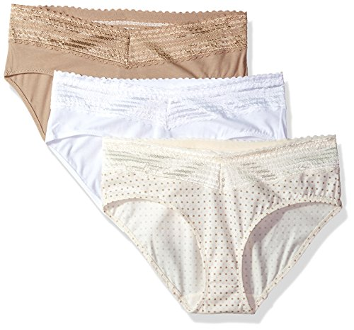 Warner's Women's Blissful Benefits No Muffin Top 3 Pack Lace Hipster Panties, White/Toasted Almond/Body Tone Polka Dot Print, L - Multi Polka Dot Print