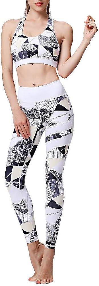 2 Piece Yoga Pants Leggings Sports Bra Set High Waist Tummy ControlWorkout Outfits for Women