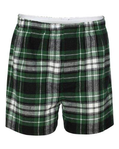 Boxercraft Cotton Flannel Plaid Boxer Sleep Shorts, 2X, Green/Black-UNISEX (Plaid Flannel Boxer)