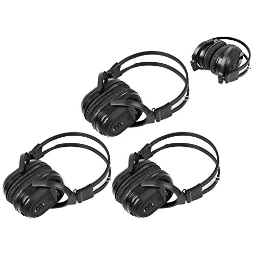 3 Pack of Two Channel Folding Universal Rear Entertainment System Infrared Headphones Wireless IR DVD Player Head Phones for in Car TV Video Audio Listening Dvd Entertainment System