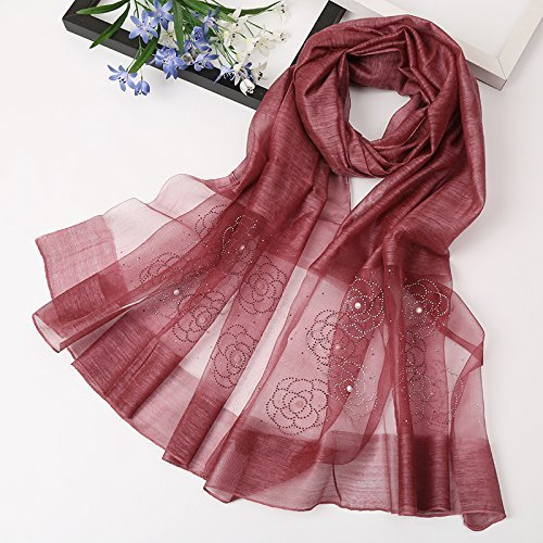 Dark Red SED ScarfDuring The Spring and Autumn Female Scarf Wild Scarf Silk Shawls Silk Scarf Long Mulberry Silk Scarf Thin Imitation Cashmere Scarf Female Autumn and Winter Korean Students Knitted Shawl lo