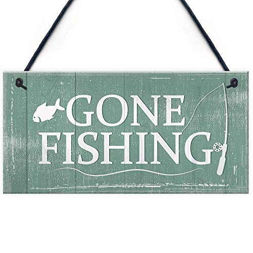 - Gone Fishing Nautical Decor Sign Dad Grandad Shabby Chic Birthday Gift Home Plaque Funny Wooden Sign Home Decor Wall Hanging Plaque
