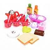 ThinkMax Kids Play Tea Set Toy with Snacks for Children Tea Party Pretend Play Game with Cute Smiley Face Design (24 Pieces)