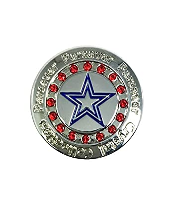 Swarovski Golf Ball Marker w/ Hat Clip - Parsaver Deluxe USA Star Design - Patriotic Red White and Blue - Unmatched Brilliance and Sparkle on the greens