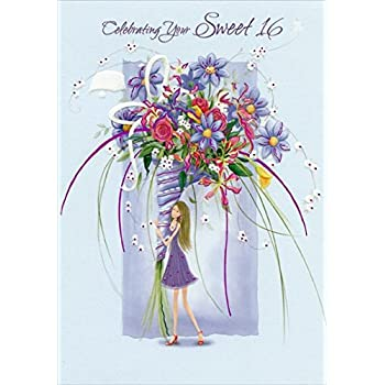 Amazon girl with large purple floral bouquet sweet 16 girl with large purple floral bouquet sweet 16 designer greetings birthday card m4hsunfo