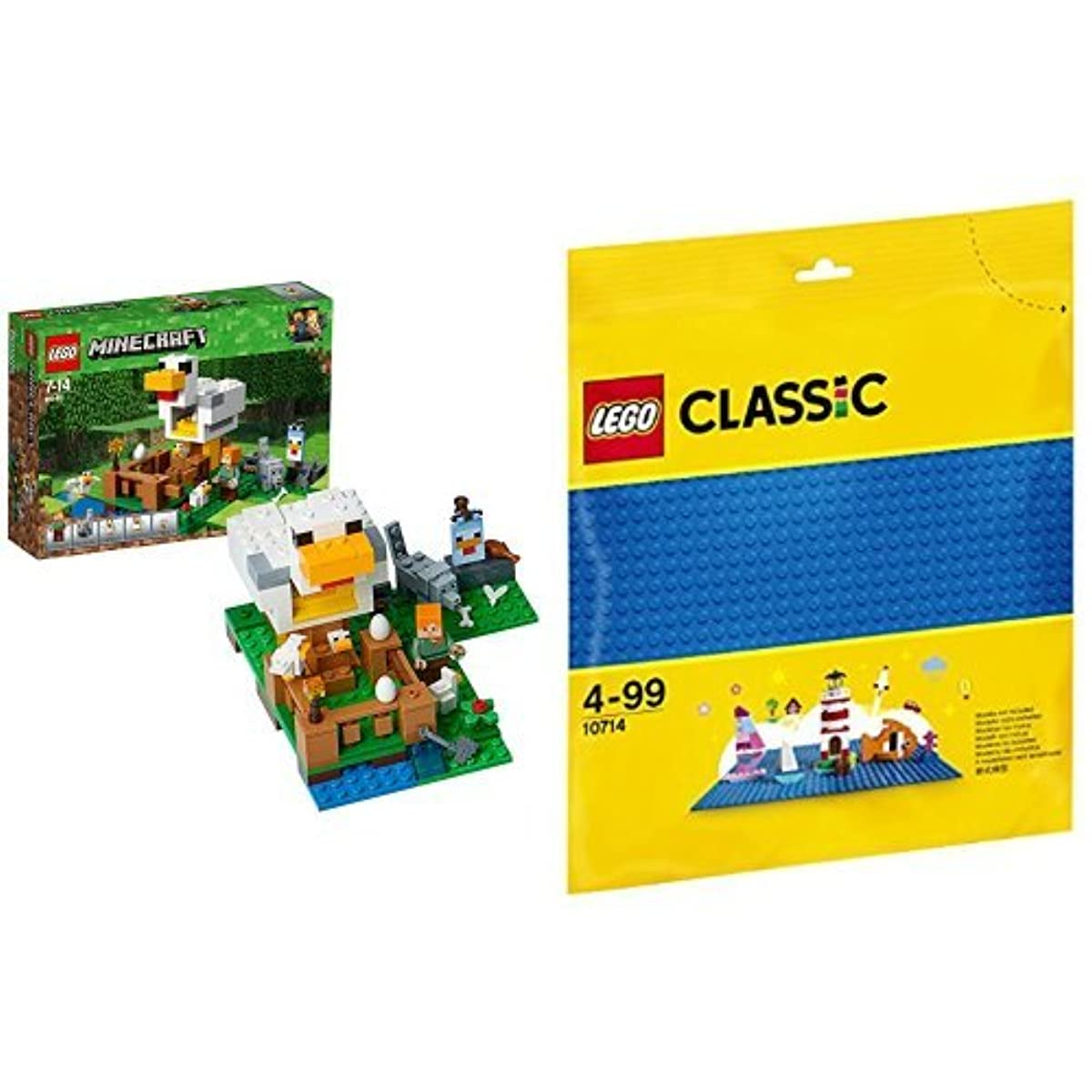[해외] 레고(LEGO) 마이구라후토 닭 가건물 21140 & 클래식 기초 판(블루) 10714