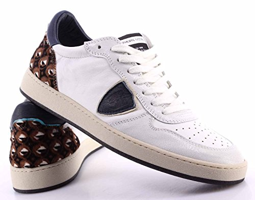 Zapatos Sneakers Hombre PHILIPPE MODEL Lakers Bassa Uomo Pony White Blue Made IT mYufZd