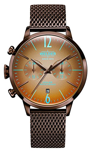 Welder Moody Stainless Steel Brown Mesh Dual Time Watch with Date 42mm