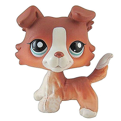 Sonmer Cute Red Brown Collie Dog Puppy Blue Eyes Figure Toy -