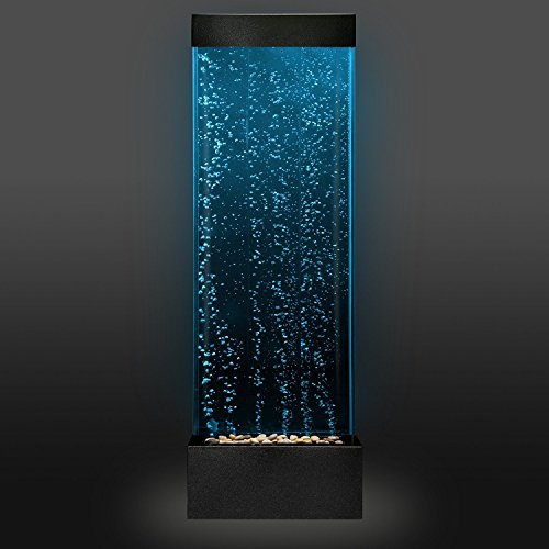 "Sensory LED Bubble Wall - 4 Foot""Tank"" Indoor Water Feature with Remote Control - Large Floor Lamp with 8 Changing Lights Colors - Stimulating Home and Office Décor - by Playlearn"