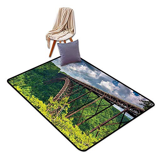 Outdoor Patio Rug,USA Canyon Rim Visitor Center Photo,Large Area mat,3'11