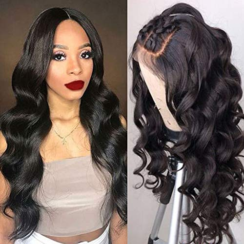 Maxine Glueless 130% Density Body Wave 360 Lace Frontal Wigs Human Hair with Baby Hair Brazilian Virgin Hair 360 Lace Wig with Natural Hairline for Women Natural Color 20 inches ()