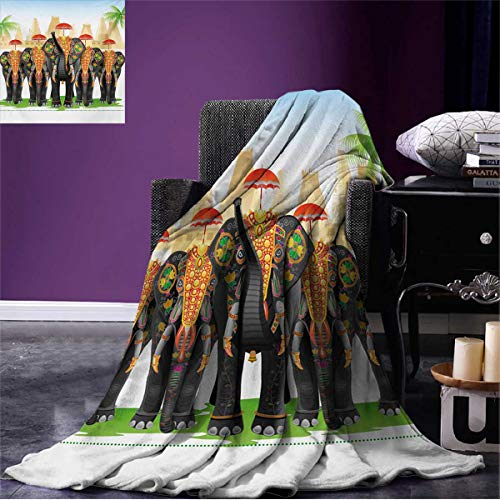 Anniutwo Ethnic Cool Blanket Elephants in Traditional Costumes with Umbrellas Ethnic Ceremony Ritual Graphic Pattern Multicolor W60 x L50 inch