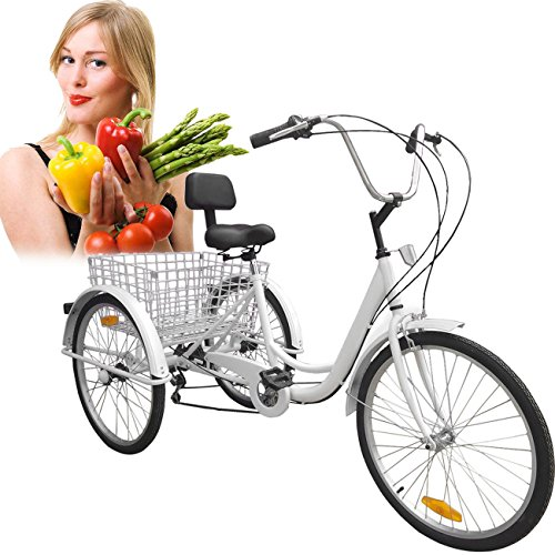 (Iglobalbuy White 24-Inch 6-Speed Adult Tricycle Trike 3-Wheel Bike Cruise Bike with Basket)