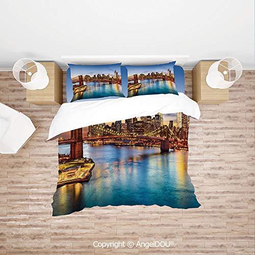 PUTIEN 4 Pieces (1 Duvet Cover +1 Sheet+ 2 Pillow Shams) Home Bedding Sets Duvet Cover Sets,New York City Skyline Over East River Brooklyn Bridge Twilight Decorative,Soft Microfiber Duvet Cover Set. ()