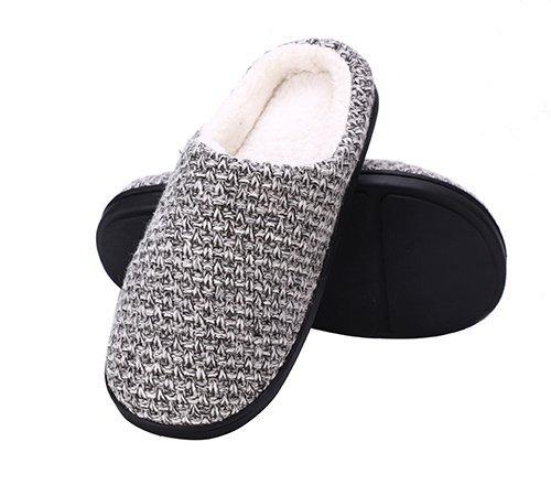 DRSLPAR House Memory Foam Slippers Comfort Plush Lining Slip-on Knit Indoor Outdoor Shoes for Men Women(Grey-Beige X-Large) by DRSLPAR (Image #2)