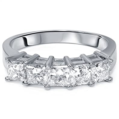 2ct princess cut diamond wedding anniversary ring womens band 14k white gold - Princess Cut Diamond Wedding Ring