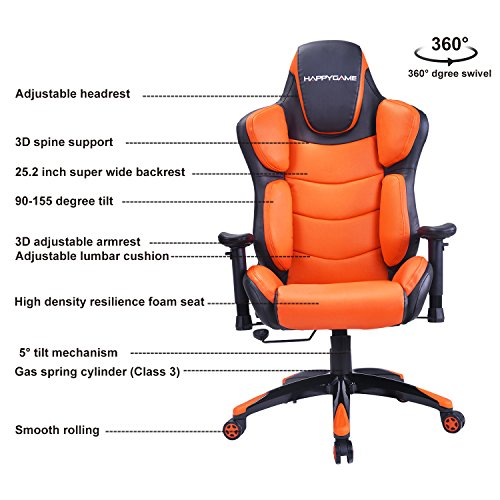 Racing Gaming Chair 350 Lbs Capacity Ergonomic High Back