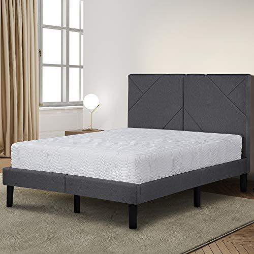 Olee Sleep VC14PB08Q Dura Metal Upholstered Premium Platform Bed Frame Gray