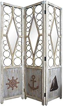 Biombo Separador Grande, de Madera Natural, para el Recibidor o el Salon, con Motivos Marineros. 180x183 cm- Hogar y Más: Amazon.es: Hogar