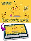 Pikachu Pokemon Edible Image Cake Topper Personalized Icing Sugar Paper A4 Sheet Edible Frosting Photo Cake 1/4 ~ Best Quality Edible Image for cake
