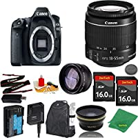Great Value Bundle for 80D DSLR – 18-55mm STM + 2PCS 16GB Memory + Wide Angle + Telephoto Lens + Backpack