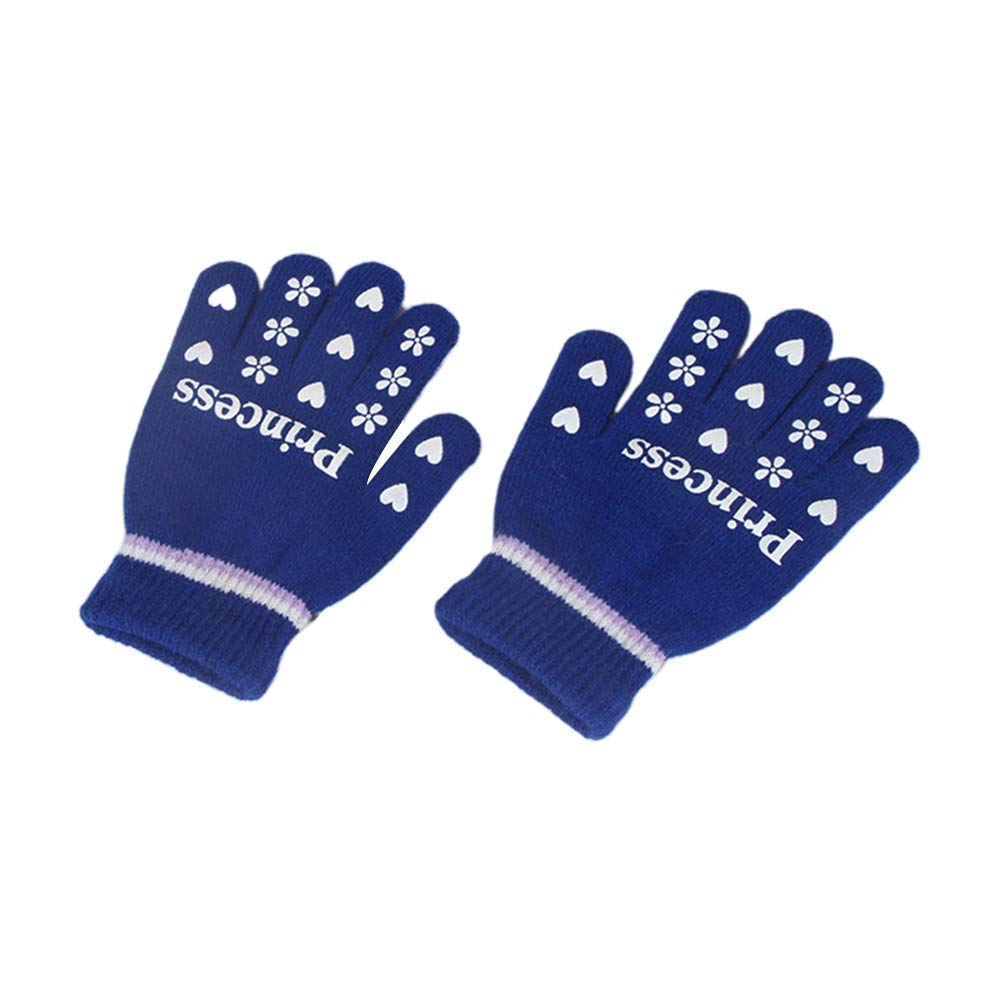 Cute Warm Childrens Gloves Blue Winter Warm Five Fingers Thin Plush Gloves Knitted Color Five-Finger Gloves Kpop Space Four Colors Optional