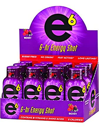 E6 Energy Shot Berry (24-2oz Bottle Pack) Sugar Free, Zero Calories