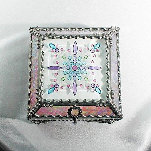 Jewel Encrusted 4X4 SILVER Treasure Jewelry Box by Glass Treasure Box