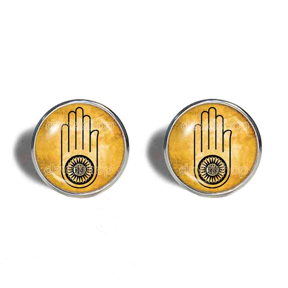 Jainism Ahimsa Earrings Ear Cuff Fashion Jewelry Jain Hand Symbol Cute Gift Hindu