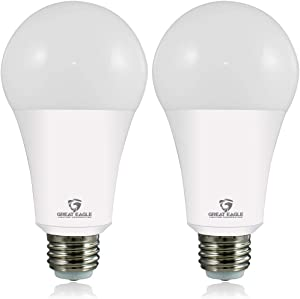 Great Eagle 50/100/150W Equivalent 3-Way A21 LED Light Bulb 3000K Soft White Color (2-Pack)