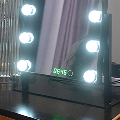 Geek-House Tabletops Lighted Makeup Mirror Hollywood Style with LED Bulb & Dimmer & Clock USB Powered Valentine's Day Gift Black by GeekHouse (Image #3)