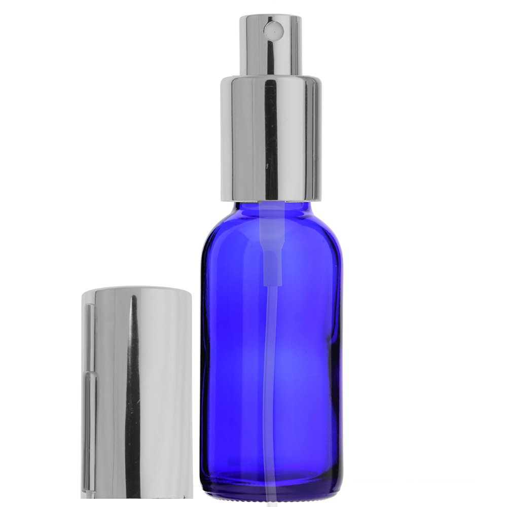 3-PIECE 1 OZ 30 ML BOSTON ROUND COBALT BLUE EMPTY REFILLABLE GLASS BOTTLE WITH FINE MIST SILVER SPRAYER (Perfume Fragrance Cologne Essential Oil Atomizer)