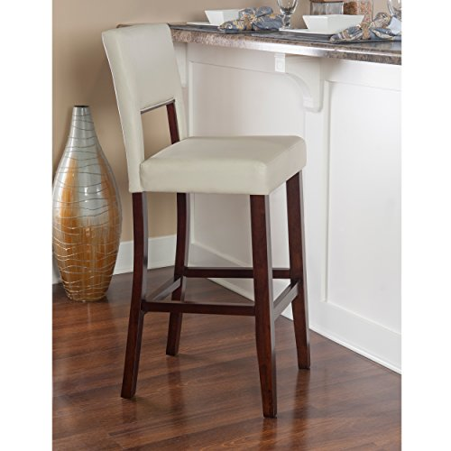 Price comparison product image Sturdy Durable Stationary Rich Foam Padding White Faux Leather Bar Stool