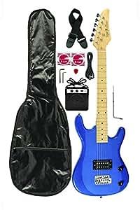 metallic blue junior kids mini 3 4 electric guitar amp starter pack guitar temolo. Black Bedroom Furniture Sets. Home Design Ideas
