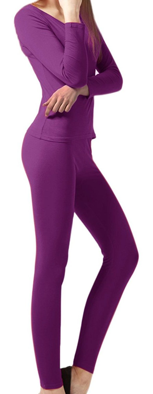 Peach Couture Womens Microfleece Ultimate Warmth Comfort Fit Thermal 2 Piece Set (Purple Medium)