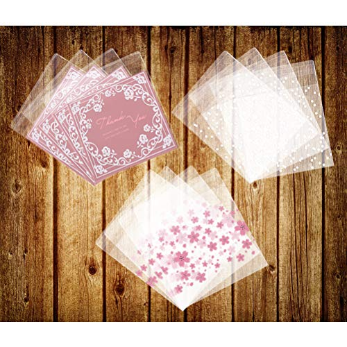 Odowalker 300 Pieces 3 Different Patterns Self Adhesive Plastic Cookie Bags 100 Pieces Cherry Blossoms Bags, 100 Pieces Pink Rose Bags & 100 Pieces White Polka Dot Bags Gift DIY Plastic Bag