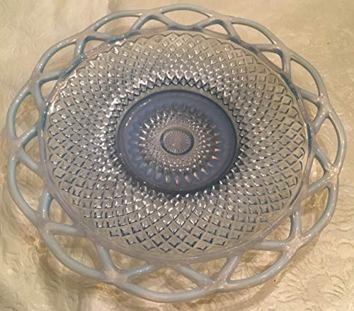 """Vintage Lovely Blue Glass 9"""" Decorative Plate with Lattice Trim Candle Holder"""