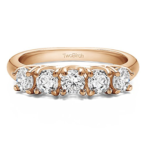 18k Rose Gold Diamond 0.5 CT Five Stone Trellis Set Wedding Ring (Size 3 To 15 in 1/4 Size Interval)