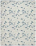 Rivet Modern Geometric Triangle Wool Rug, 8' x 10', Blue Ivory