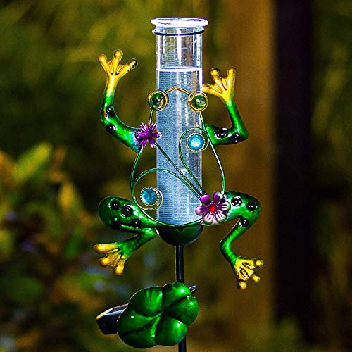 Plastic Rain Gauges - BOAER Solar Powered Rain Gauge Outdoor,Metal Frog Figurine Stake for Garden, LED Lights Glass Tube (Solar Rain Gauge)