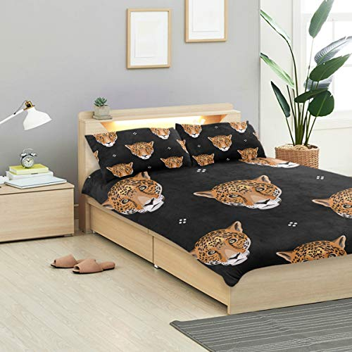 MIGAGA Duvet Cover Set, Seamless Geometrical Pattern Leopard Jaguar Faces, Decorative 3 Piece Bedding Sets with 2 Pillow Shams Queen Size ()