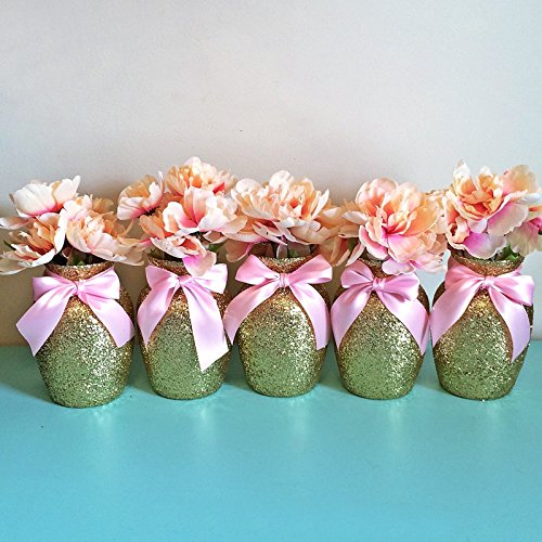 Gold glitter glass jardin vases with soft pink bows