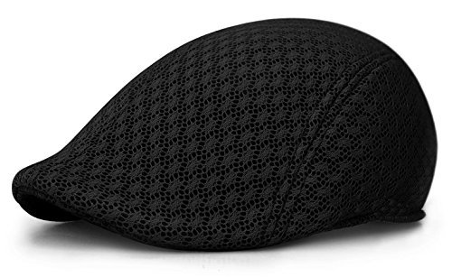 Duckbill Mesh Summer Mens Gatsby Polyester Ivy Golf Driving Hat Sun Newsboy Cap (L/Xl, Black)