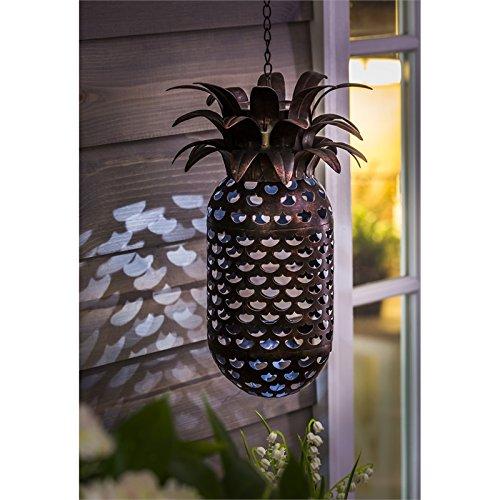 New Creative Leave the Light On Pineapple Solar Hanging Metal Lantern