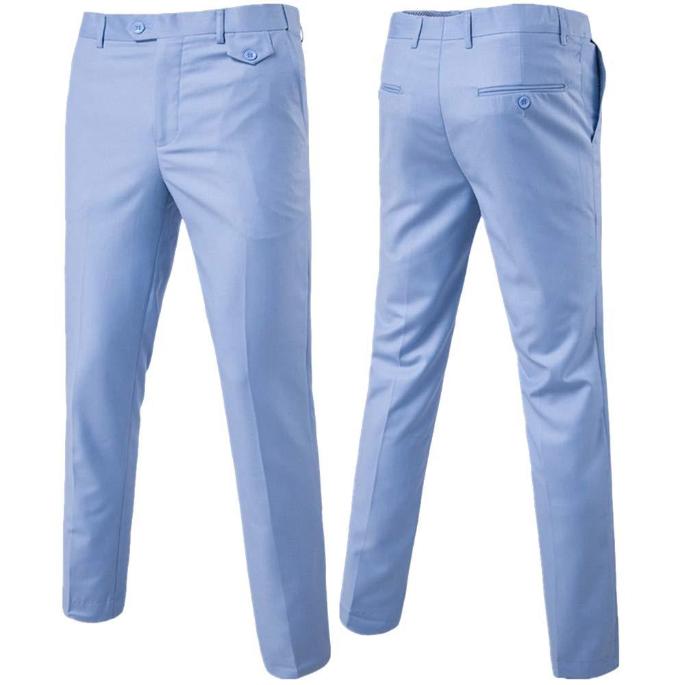 ZFADDS Men Slim Fit Summer Business Men Formal Suit Pants Wedding Bridegroom Trousers 9 Color Trousers Sky Blue 4XL